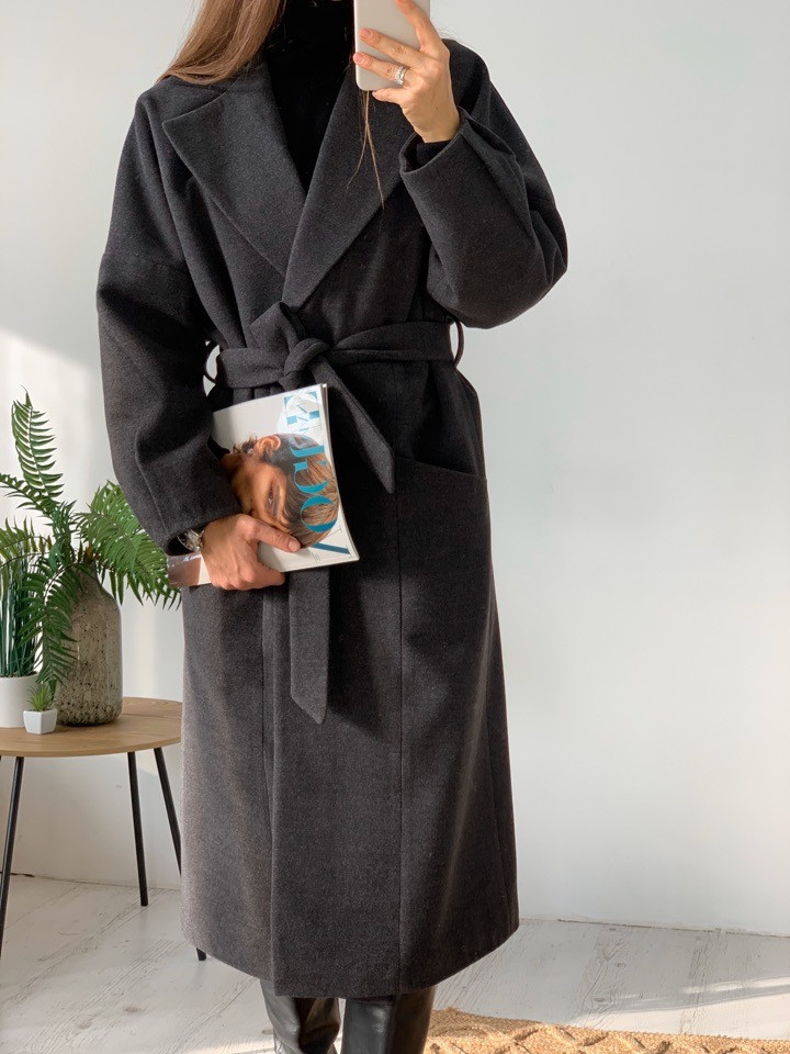 Женское молодёжное кашемировое пальто с поясом