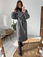 Женское молодёжное кашемировое пальто с поясом, фото 2