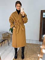 Женское молодёжное кашемировое пальто с поясом, фото 4