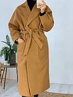 Женское молодёжное кашемировое пальто с поясом, фото 5