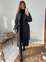 Женское молодёжное кашемировое пальто с поясом, фото 6
