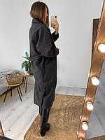 Женское молодёжное кашемировое пальто с поясом, фото 7