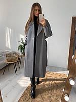 Женское молодёжное кашемировое пальто с поясом, фото 8