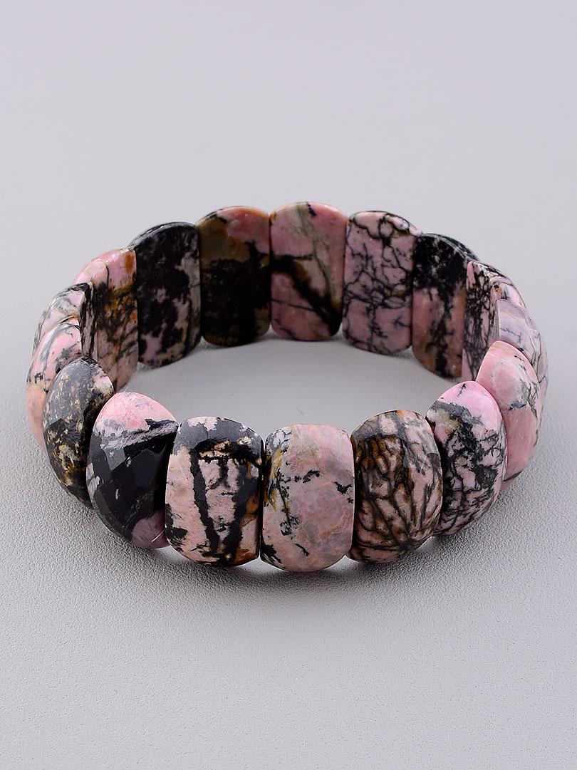 Браслет на руку из натурального камня Родонит 21 см