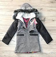 Пальто утеплене зі стеганнами рукавами 146/152 зростання