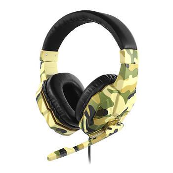 Проводная гарнитура SOYTO SY830MV Camouflage Yellow микрофон для общения по скайпу компьютерная для геймеров