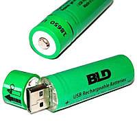 Акумулятор 18650 (BLD Li-ion 3.7v 3800mah Green) АКБ батарея з USB зарядкою для ліхтарика, вейпа, шуруповерта, фото 1