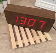 Часы настольные Деревянные Электронные из дерева с подсветкой красные цифры (Настоящие фото)