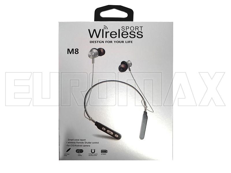 Наушники вакуумные с микрофоном BT магнитные с дужкой M8