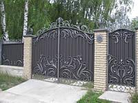 """Ворота кованые с калиткой и установкой. Замок в калитку. Покраска супер эмалью """"""""Hammerite""""."""