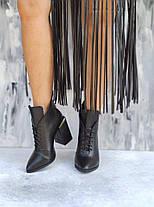 Шикарные кожаные женские черные ботильоны на квадратном каблуке, размеры 35-40, фото 3