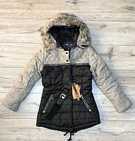 Утеплене пальто на синтепоні зі знімним хутром. (Підкладка - фліс). 15/16 років