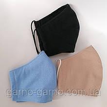 Многоразовая 3 слойная защитная  трикотажная тканевая маска для лица детская женская мужская подростковая
