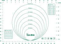 Силиконовый коврик Con Brio для раскатки и выпечки теста 30 х 40 см зелёный CB-675