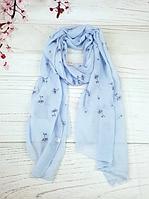 Тонкий шарф Fashion Амелия из вискозы 180*80 см голубой