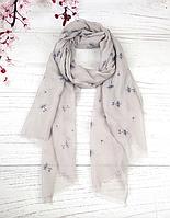 Тонкий шарф Fashion Амелия из вискозы 180*80 см серый