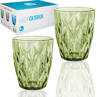 Набор цветных стаканов Грани Изумруд 280мл 6 шт.