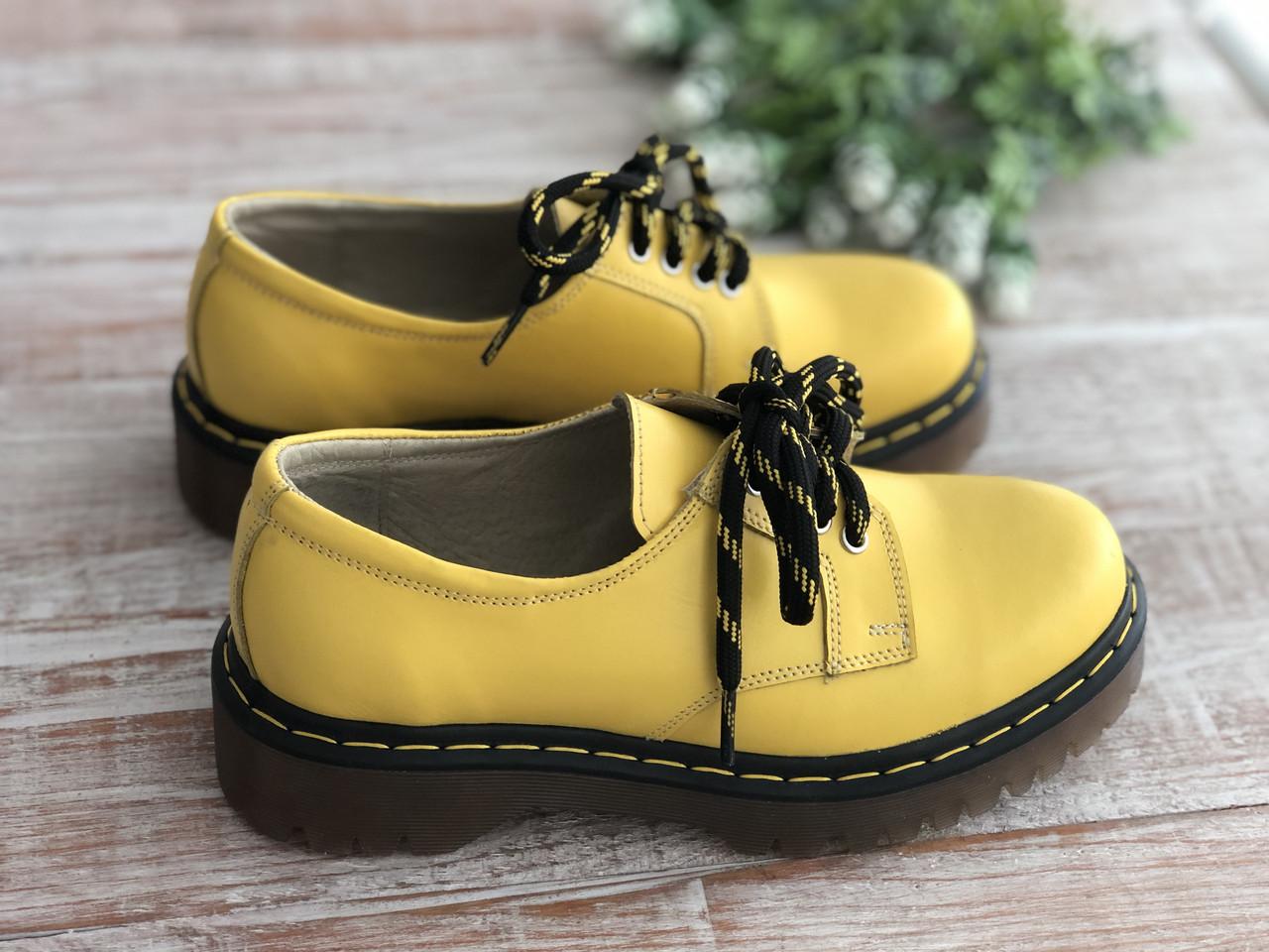 Кожаные женские ботинки 2323 жел размеры 36,37,38