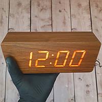 Деревянные Настольные часы (красные цифры) светодиодные (Настоящие фото)