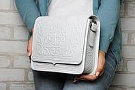 Шкіряна жіноча сумка, біла сумка, сумка через плече, фото 1