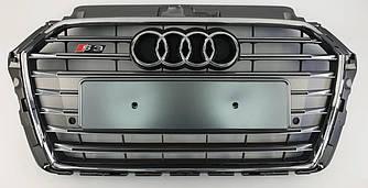Решетка радиатора Audi A3 8V (16-20) стиль S3 (серебро)