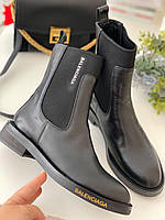 Кожаные ботинки BALENCIAGA на низком каблуке (реплика)