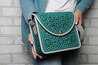 """Эксклюзивная серая женская сумочка через плечо, тисненый авторский узор """"Роксолана"""", фото 1"""