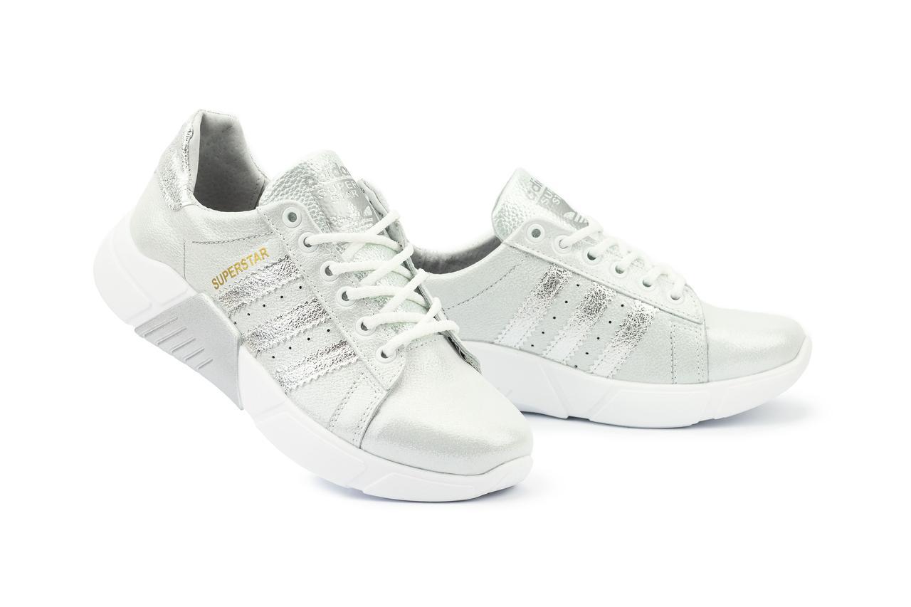 Женские кроссовки кожаные весна/осень серебристые-белые CrosSAV 112