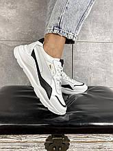 Женские кроссовки кожаные весна/осень белые-черные Yuves 778