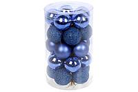 Набор елочых шаров 3см, цвет - королевский синий , 25шт: 5шт - матовый, 10шт - глянец, 10шт - глиттер