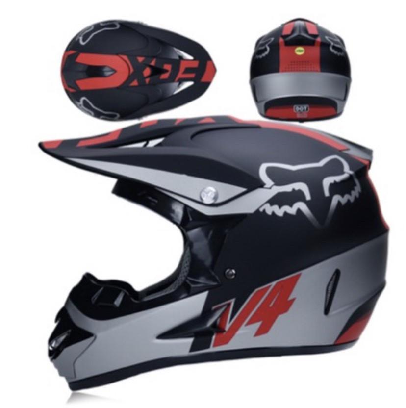 Серо -красный  Матовый мотошлем мото кроссовый шлем  фулфейс Fox  (эндуро, даунхил)