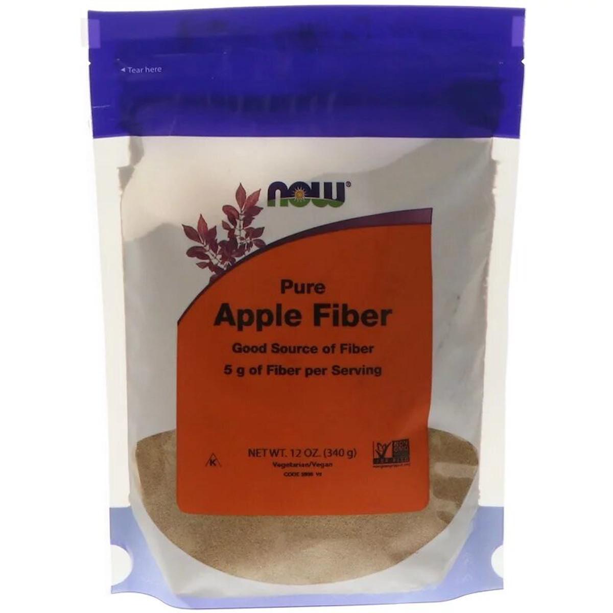 Чистая яблочная клетчатка, Pure Apple Fiber, Now Foods, Порошок, 340 гр