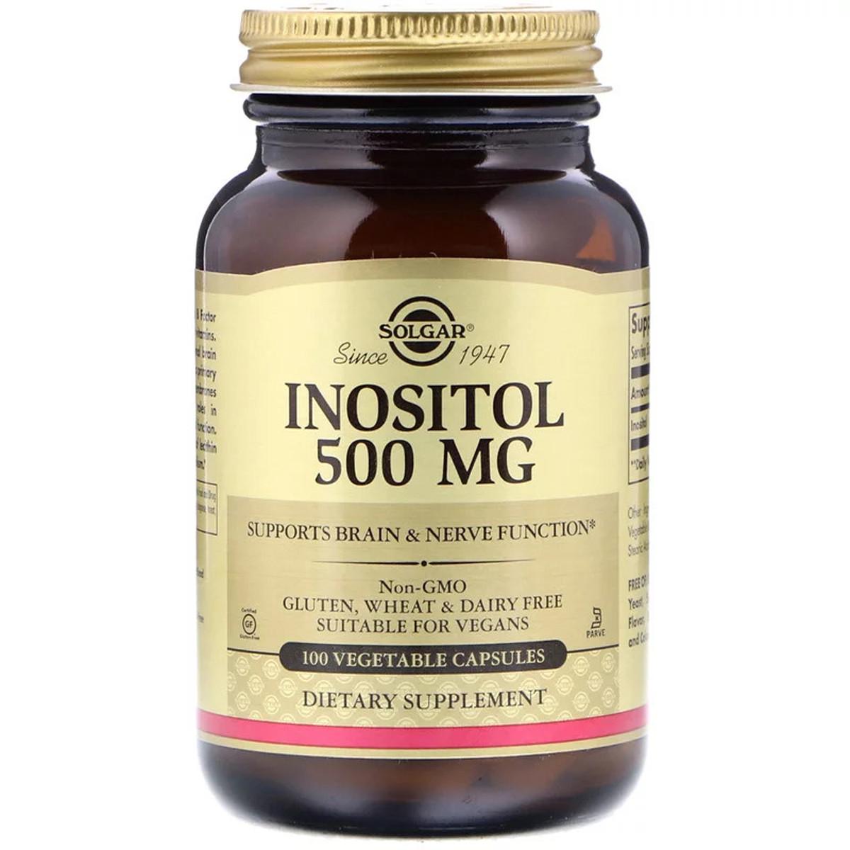 Инозитол (В8), Inositol, Solgar, 500 мг, 100 вегетарианских капсул