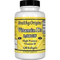 Витамин D3, Vitamin D3 2000IU, Healthy Origins, 120 капсул