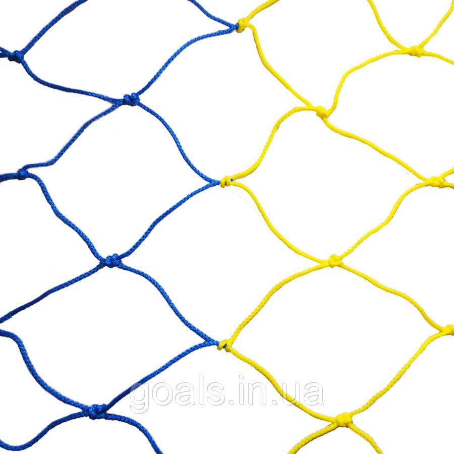 Сетка футбольная 7,5 х 2,55 х 2 м (желт/син)