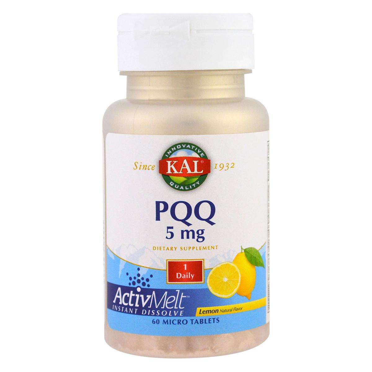 Пирролохинолинхинон PQQ, 5 мг, Вкус Лимона, KAL, 60 мини таблеток