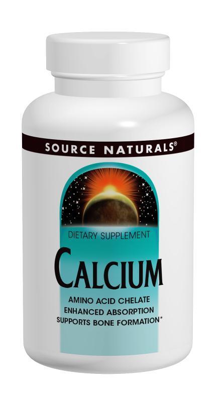Кальций в Аминокислотном Хелате, Source Naturals, 250 таблеток