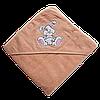 Полотенце детское для купанья с капюшоном махра 90*90 380г/м2 (TM Zeron), персиковое Турция