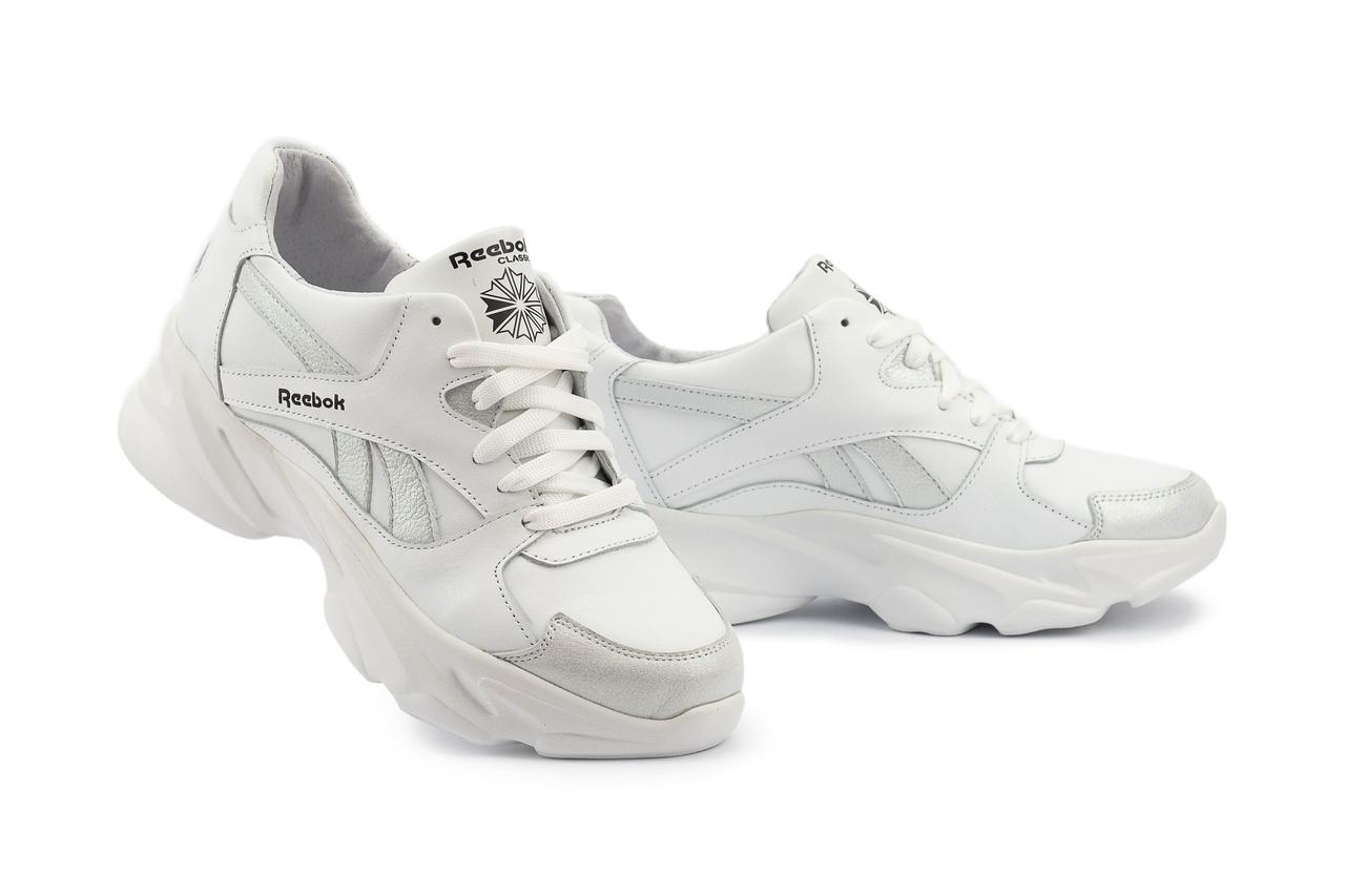 Жіночі кросівки шкіряні весна/осінь білі-сірі Yuves 777