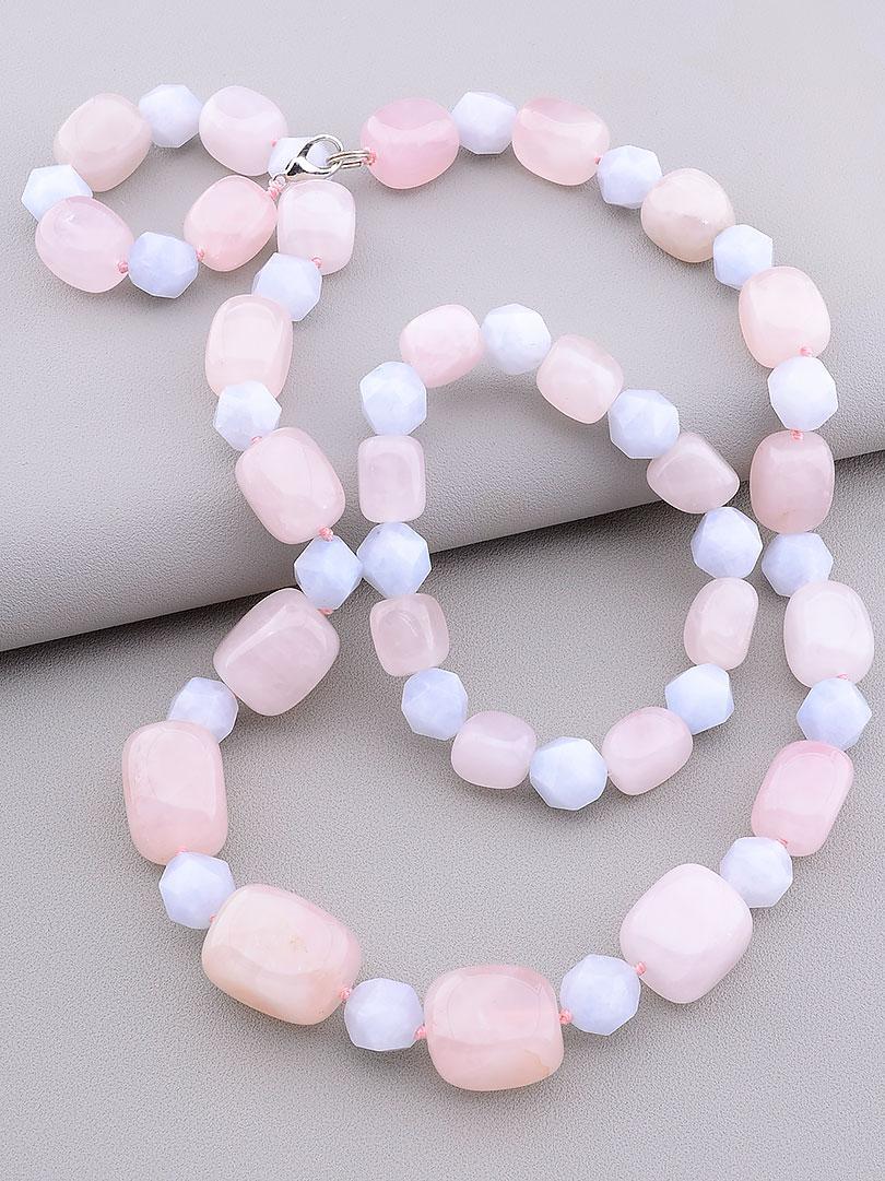 Комплект украшений бусы и браслет  на руку Розовый кварц Аквамарин 60 см