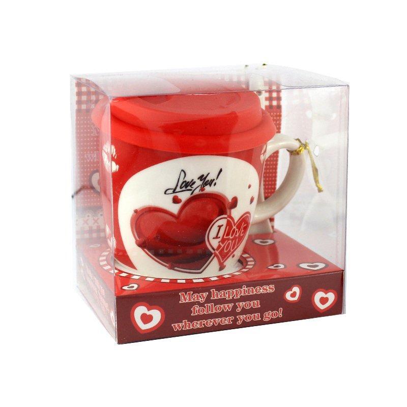 Чашка с силиконовой крышкой и ложкой Love