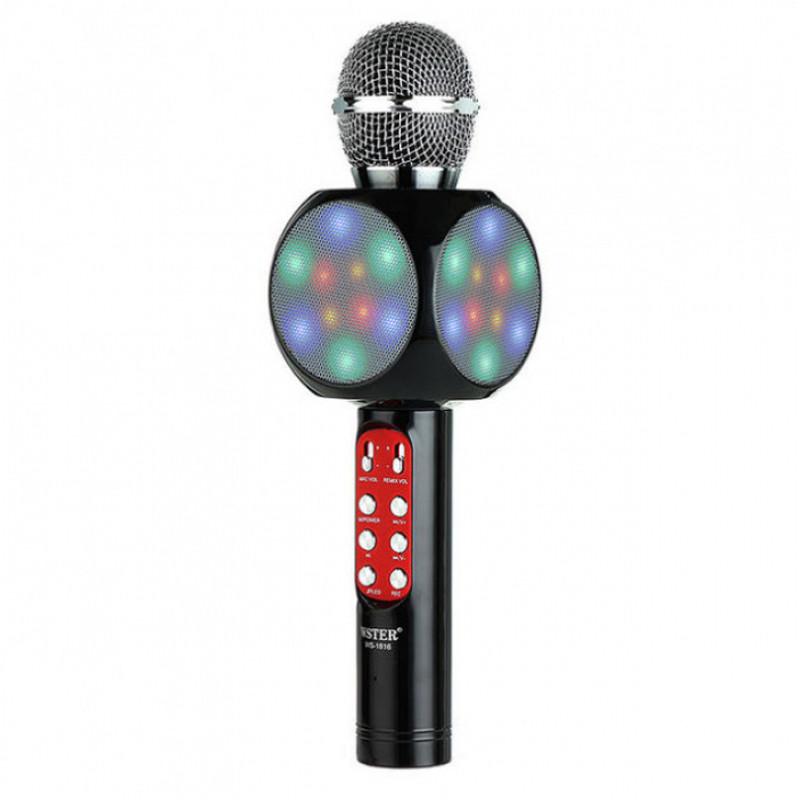 Беспроводной микрофон для караоке,Bluetooth со светомузыкой Wster WS1816 Black