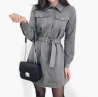 Платье женское из замши с длинным рукавом, фото 7