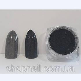 Втирка для ногтей с микроблеском черная (со спонжем)