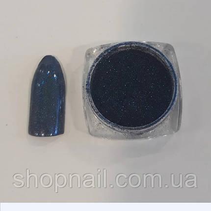 Втирка для ногтей с микроблеском синяя (со спонжем), фото 2