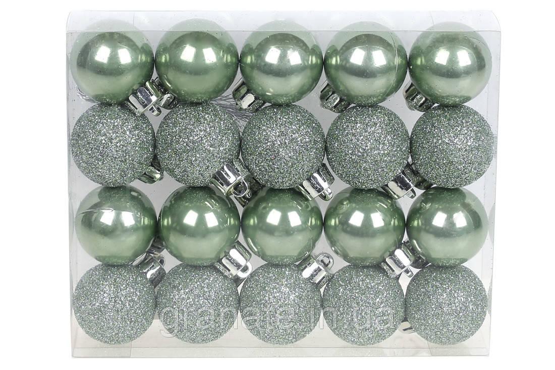 Набор елочых шаров 3см, цвет - зелёный шалфей, 20шт: перламутр, глиттер - по 10шт