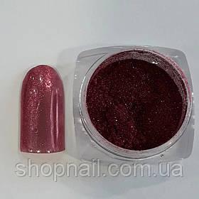 Втирка для ногтей с микроблеском розово-красная (со спонжем)