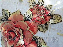 М'яке скло Скатертину з лазерним малюнком для меблів Soft Glass 1.4х0.8м товщина 1.5 мм Червона троянда, фото 2