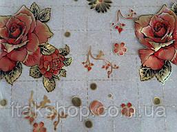 М'яке скло Скатертину з лазерним малюнком для меблів Soft Glass 1.4х0.8м товщина 1.5 мм Червона троянда, фото 3