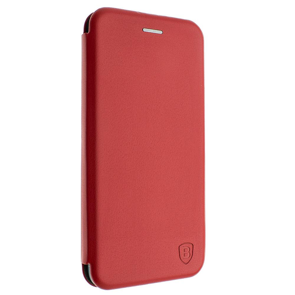 Чехол-книжка для Xiaomi redmi note 8 цвет красный, кожаный